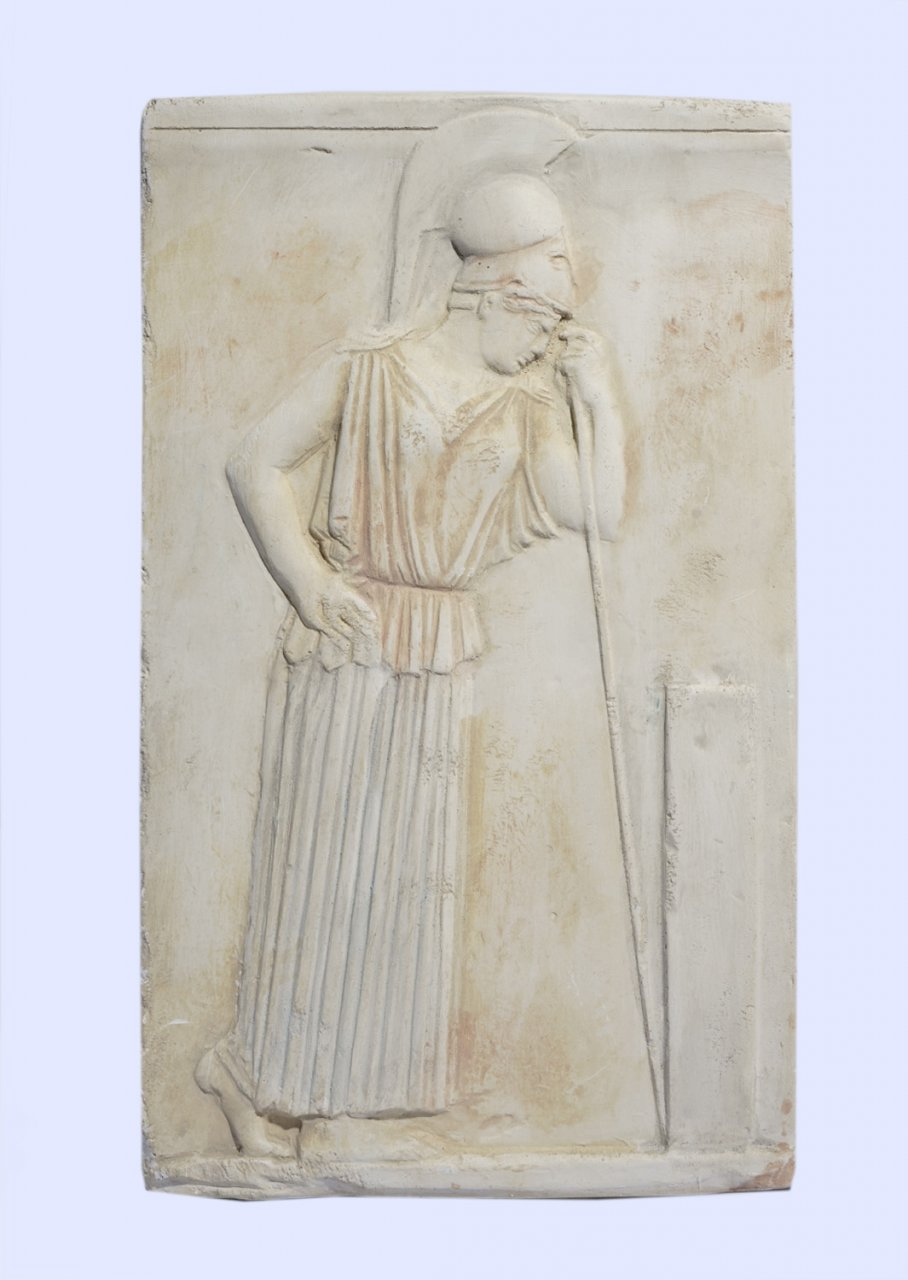 Greek small plaster relief sculpture of The Mourning Athena