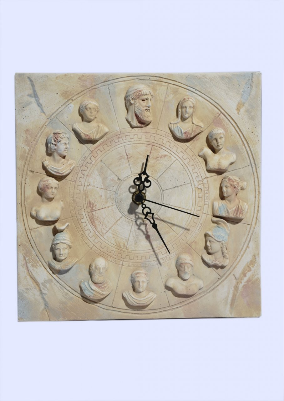 Large square plaster wall clock with the Twelve Olympians Gods (busts)