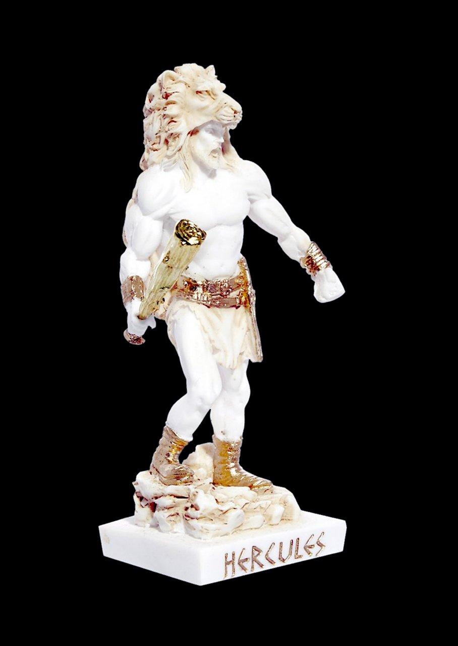 Greek alabaster statue of Hercules holding his club