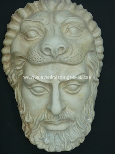 Souvenirs from Greece: Hercules small plaster greek mask Greek statues Greek masks Gorgeous art souvenirs from Greece handmade greek sculpture Mask of Hercules, the renoun hero of greek mythology, used as a thearical mask. Excellent greek art decorative gifts.