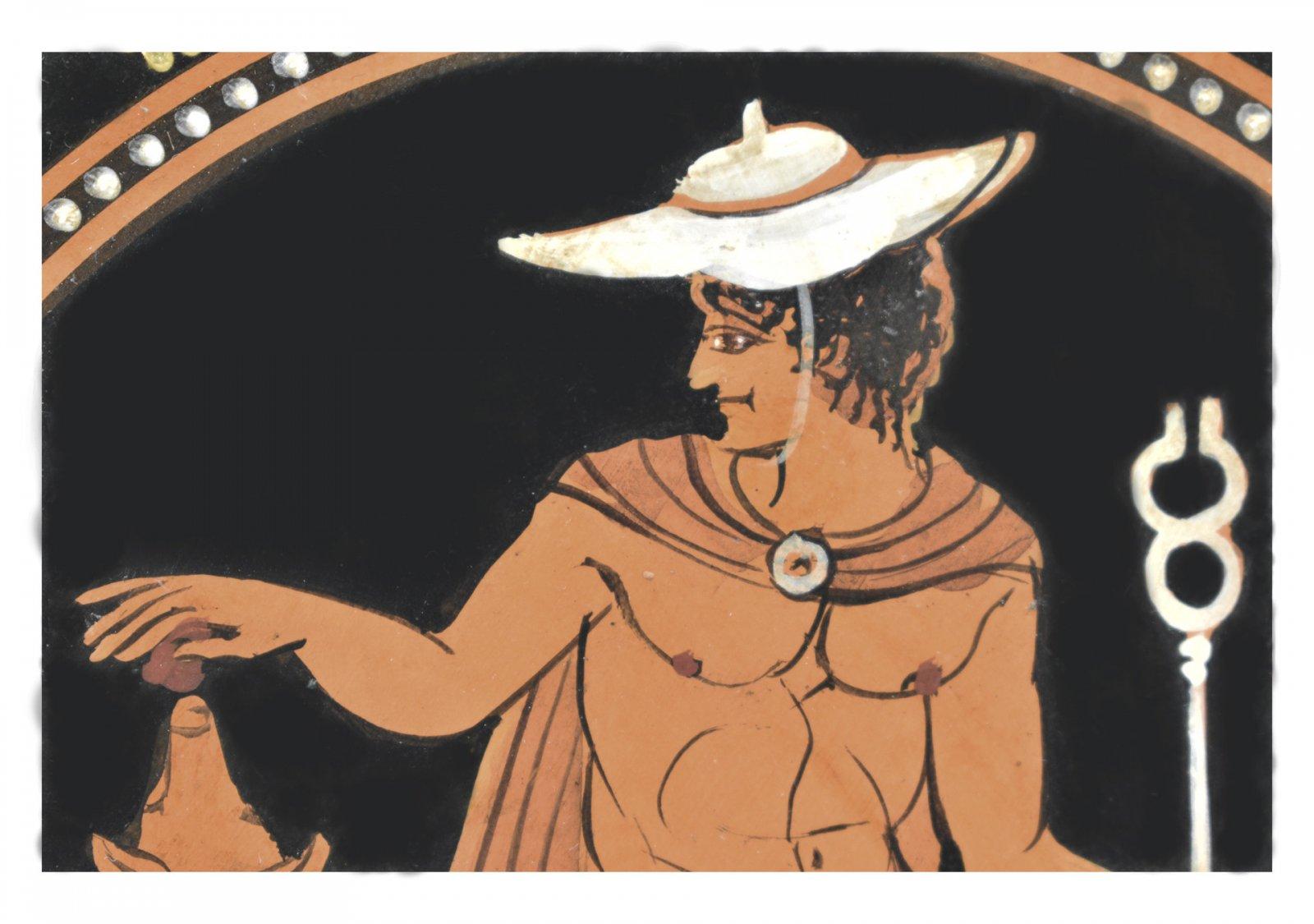 Greek ceramic plate depicting Hermes