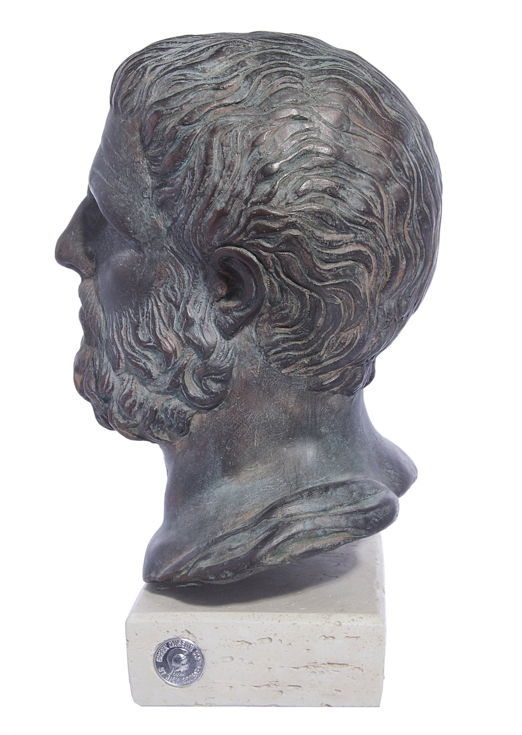 Hippocrates (Ippokrates) green greek plaster bust statue