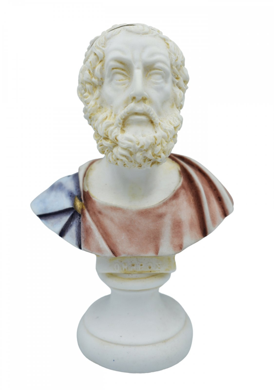 Homer alabaster bust statue with color