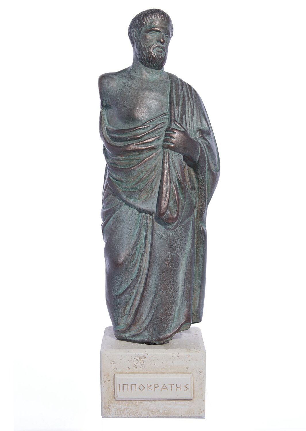 Hippocrates (Ippokrates) green greek plaster statue