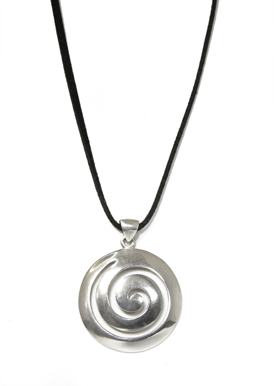 Greek spiral large thick silver pendant