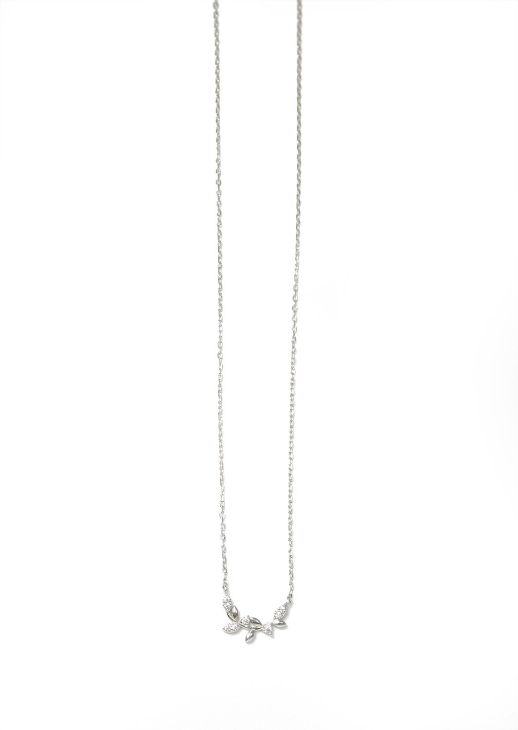 Greek olive branch silver necklace with zircon
