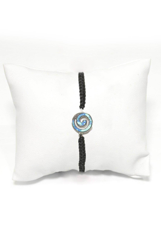 Greek spiral silver macrame bracelet with opal