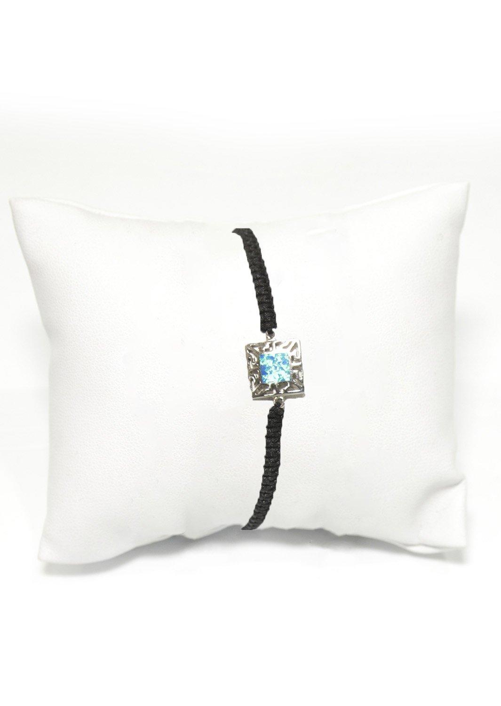 Greek key design - Meander silver macrame bracelet with opal