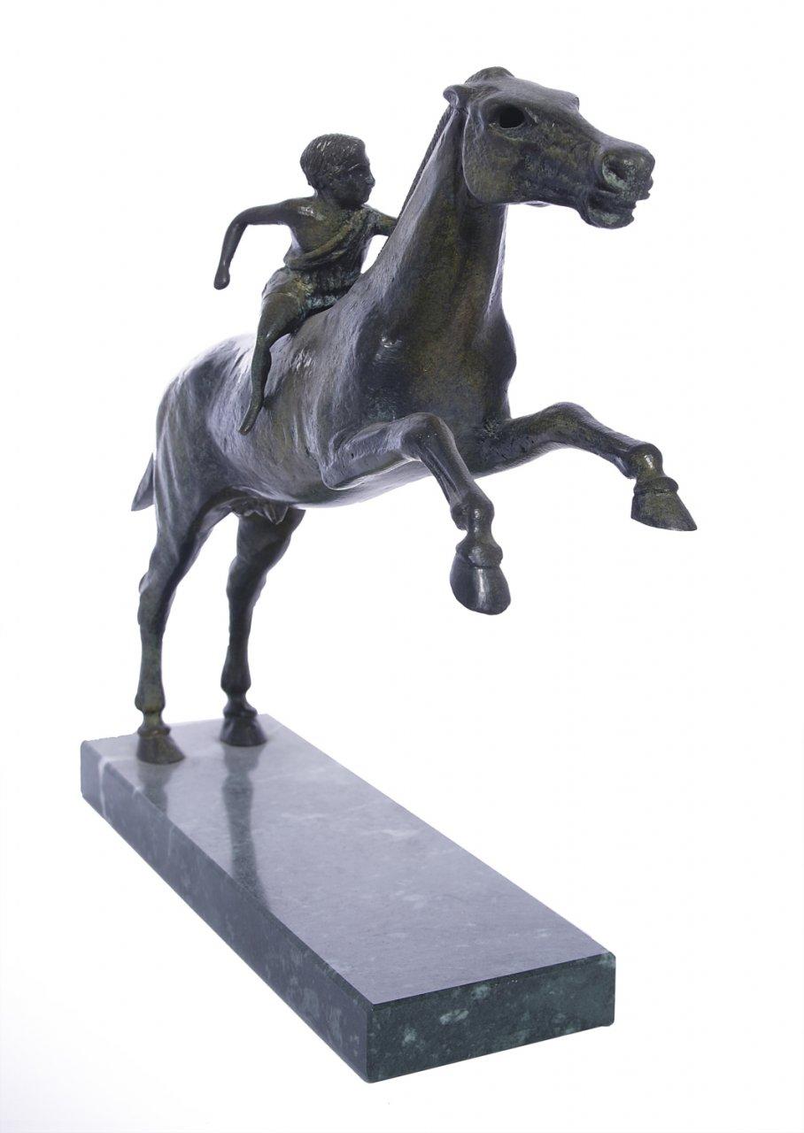 Greek bronze replica statue of Jockey of Artemision on a marble base