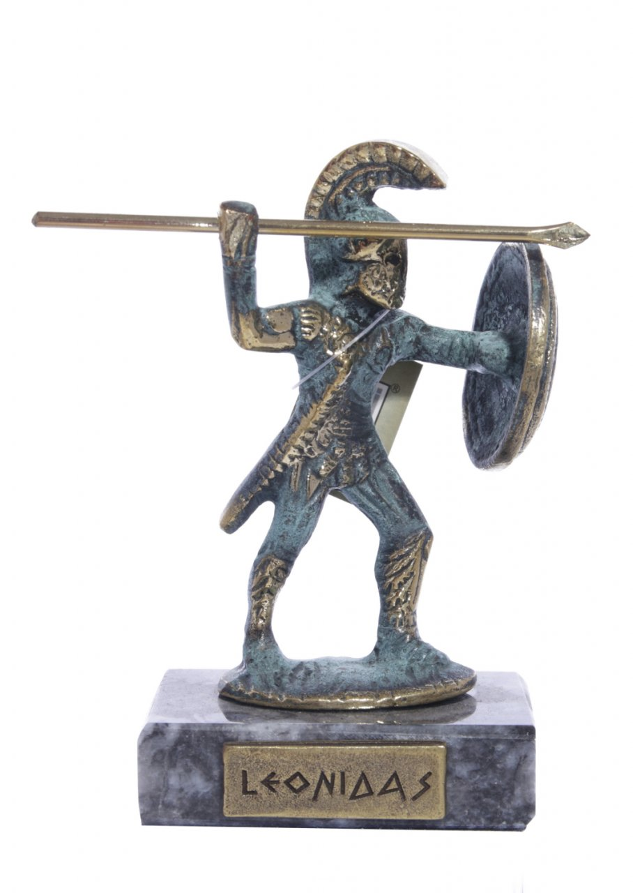 Bronze statue of Leonidas, the king of Sparta, on marble base