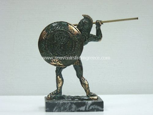 Bronze figurine of Leonidas the king of Sparta holding a spear in green color Greek statues Bronze figurines