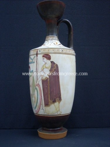 Greek pottery, ceramic vase (Lykithos) with a soldier his wife and son Greek pottery Ancient greek vessels