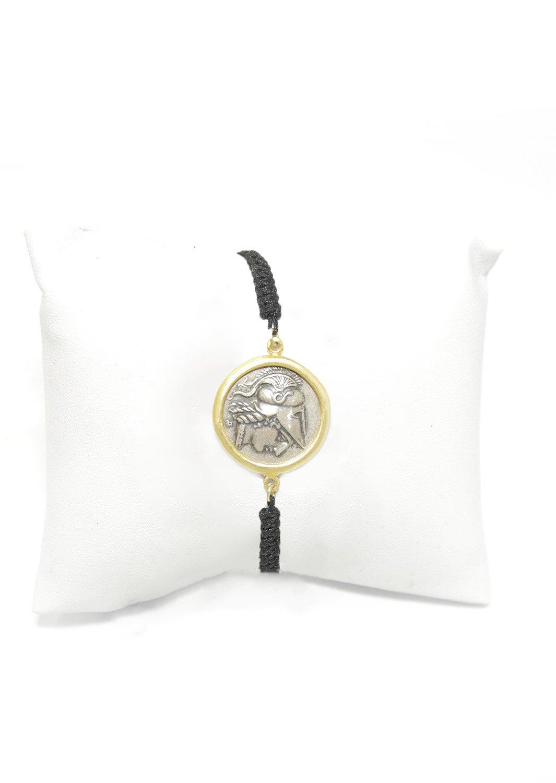 Athena, the goddess of wisdom gold plated - silver macrame bracelet