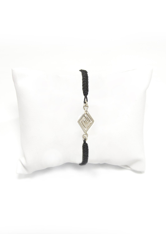 Slim greek key design - Meander silver macrame bracelet