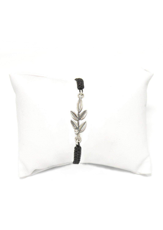 Greek Olive Branch silver macrame bracelet