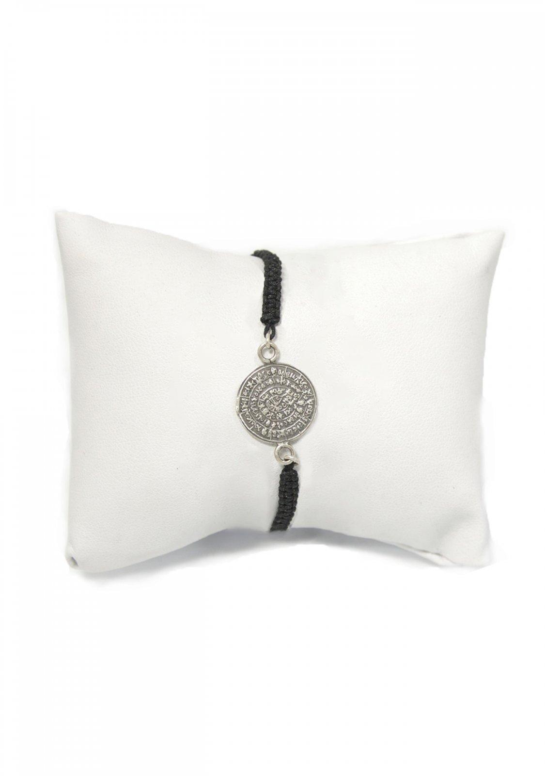 Phaistos Disc silver macrame bracelet