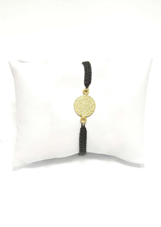 Small Phaistos Disc gold plated silver macrame bracelet