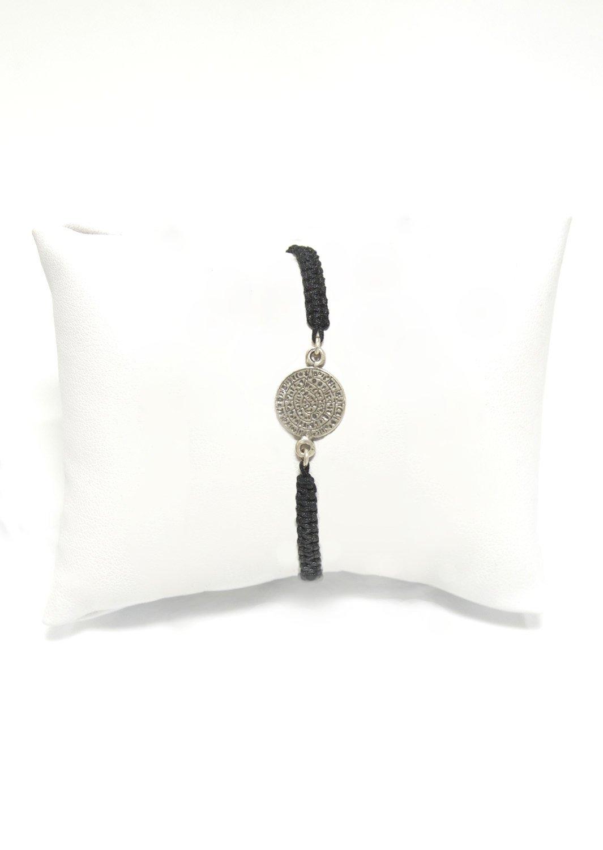 Small Phaistos Disc silver macrame bracelet