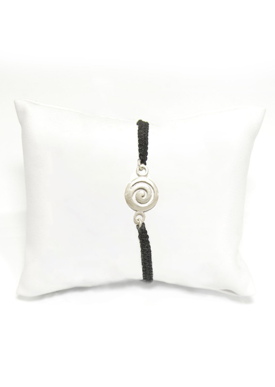 Greek spiral silver macrame bracelet