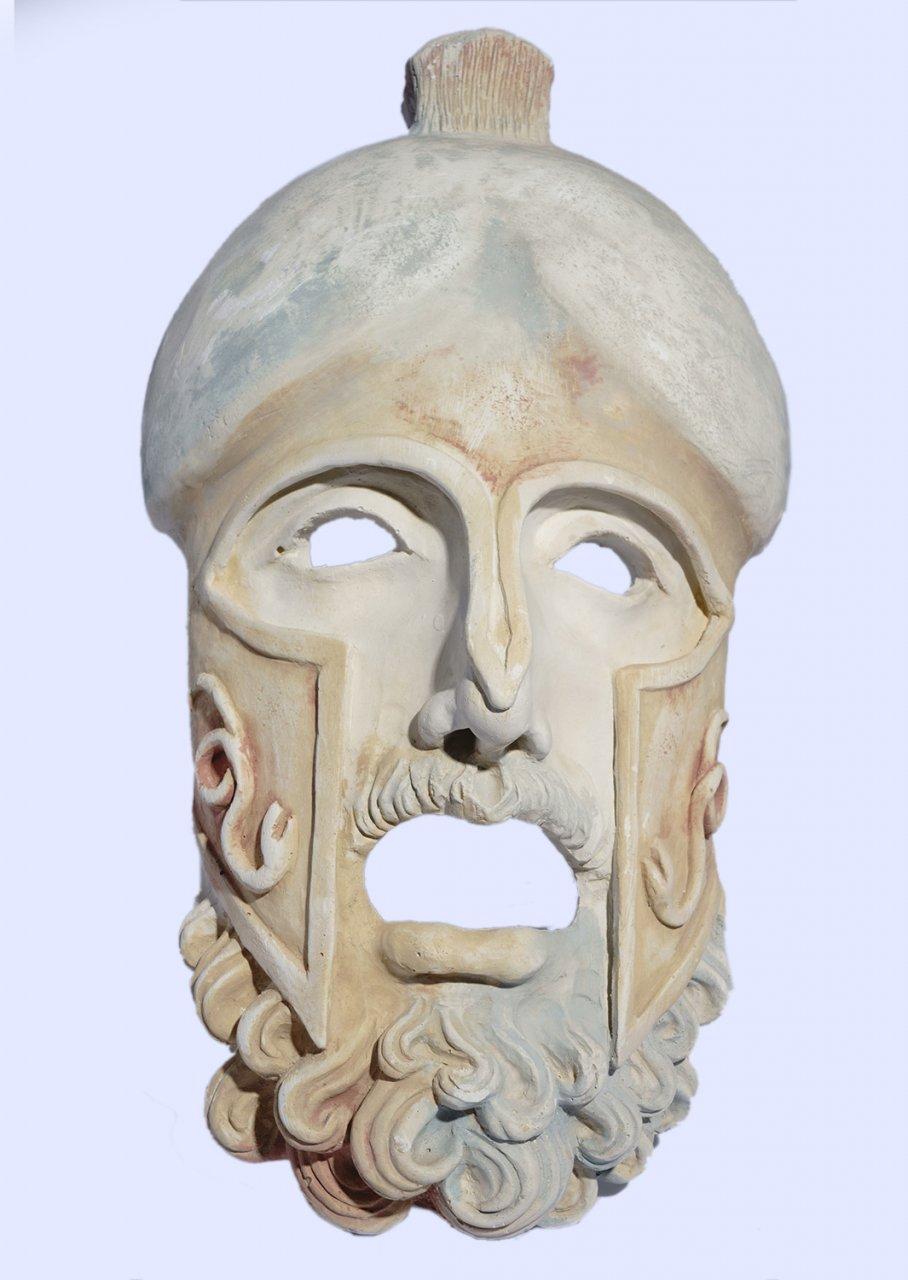 Greek large plaster mask sculpture of Ares, the god of war