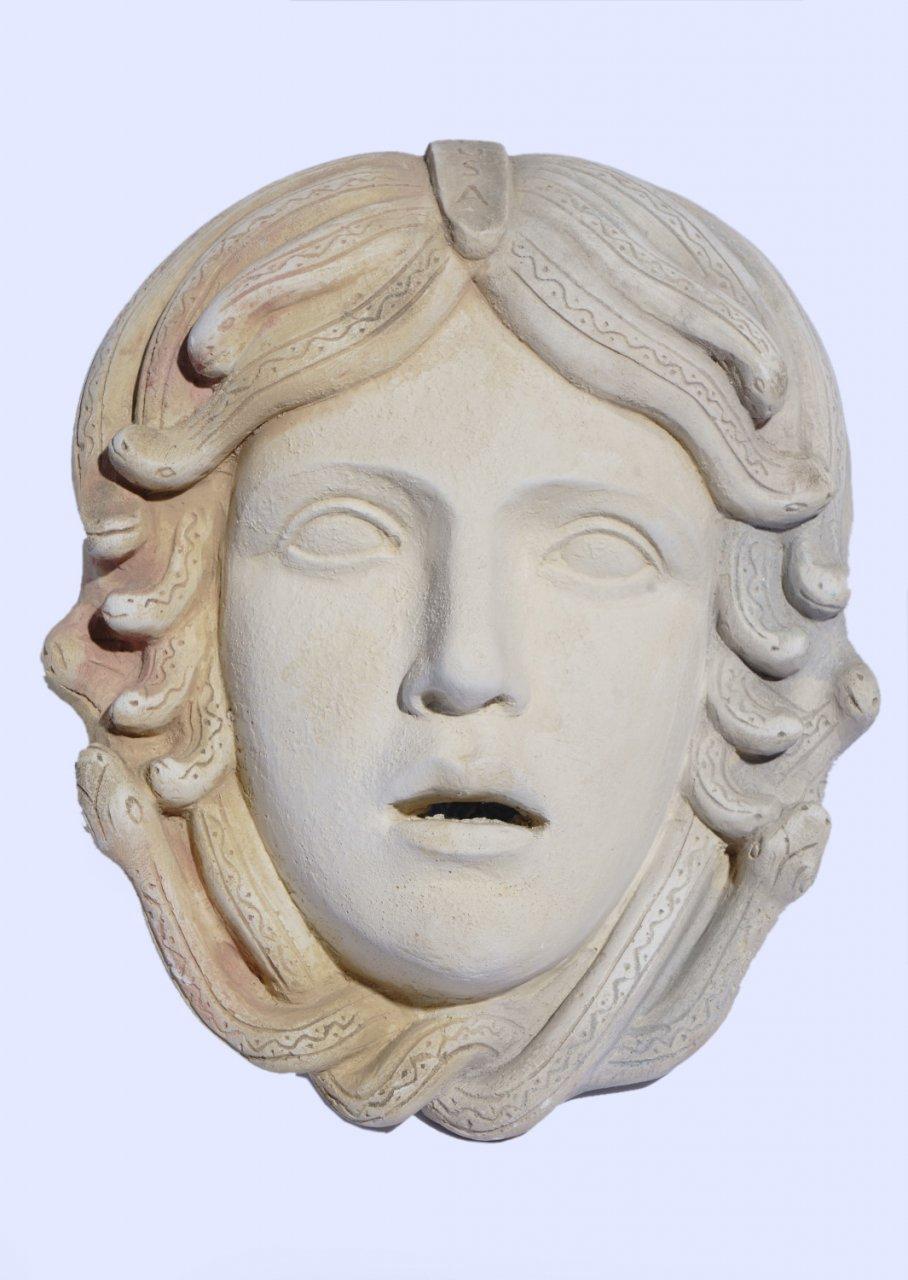 Greek large plaster mask sculpture of Medusa