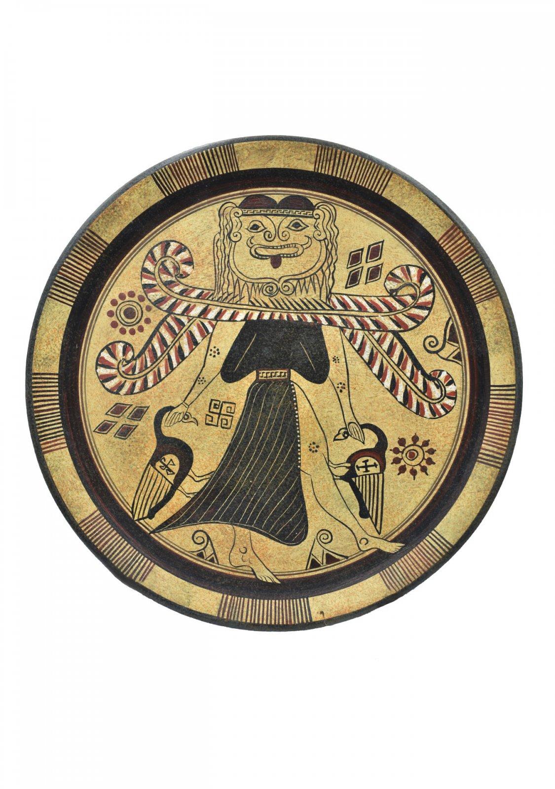 Greek ceramic plate depicting Medusa
