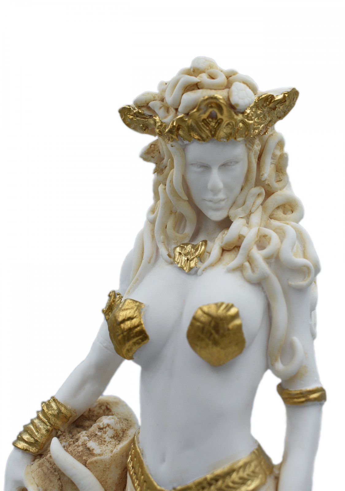 Medusa, Gorgo, greek alabaster statue in gold tone, the mythical creature