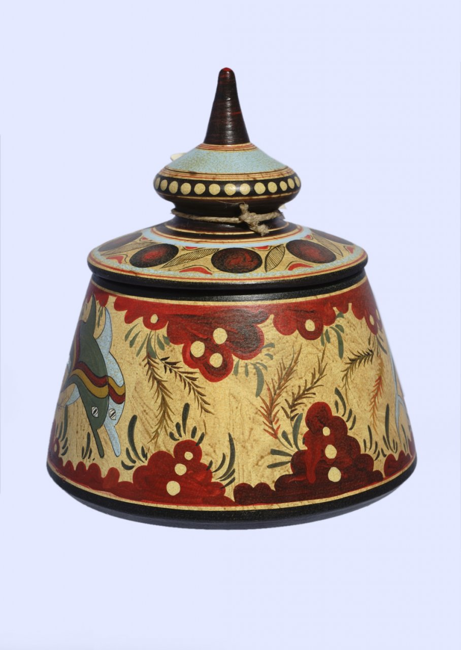 Minoan small Greek pyxis with dolphins