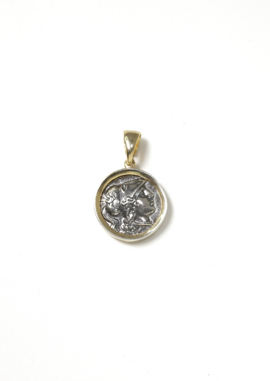 Athena goddess of wisdom thick gold plated - silver pendant