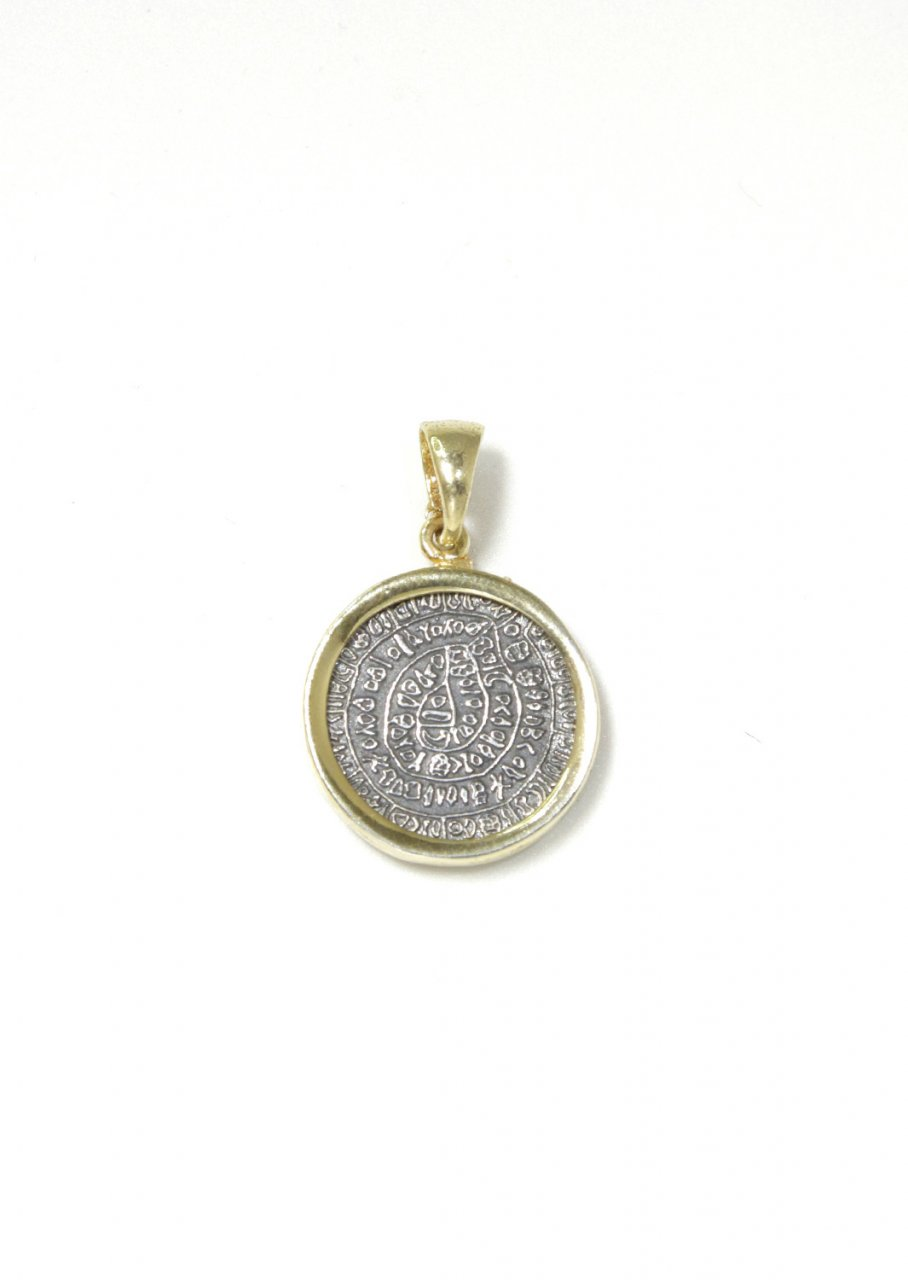 Thick Phaistos Disc gold plated - silver pendant