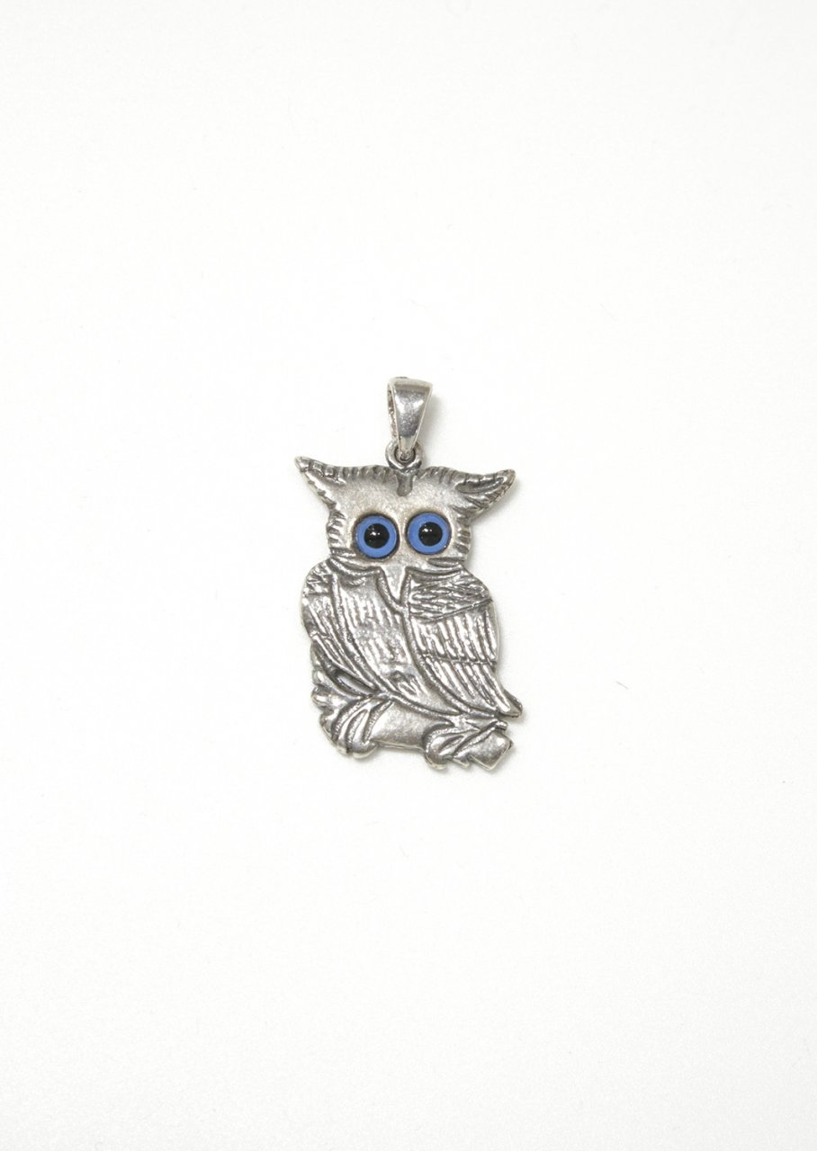 Owl greek silver pendant