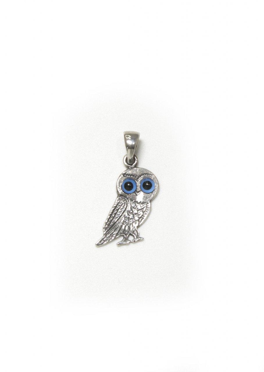 Small owl greek silver pendant