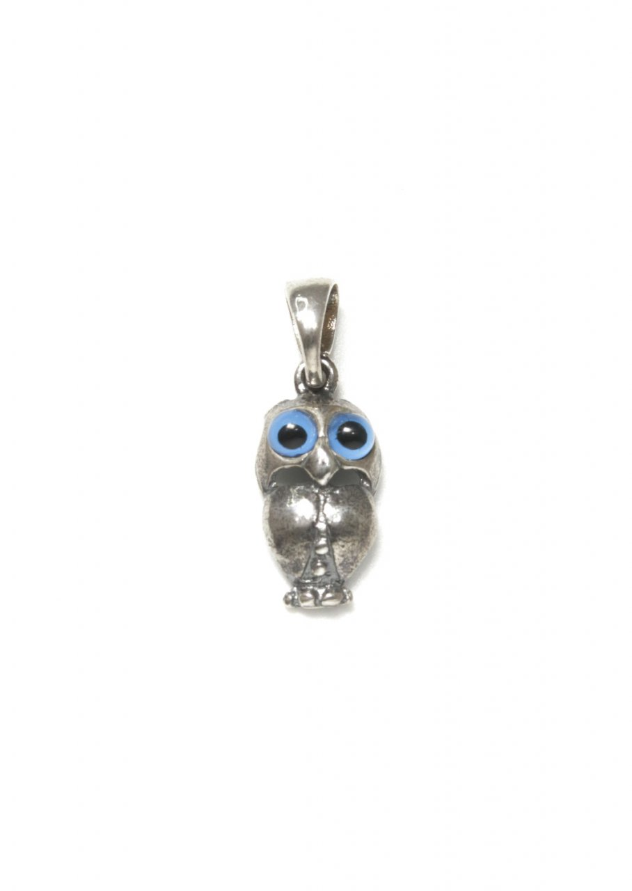 Owl small greek silver pendant