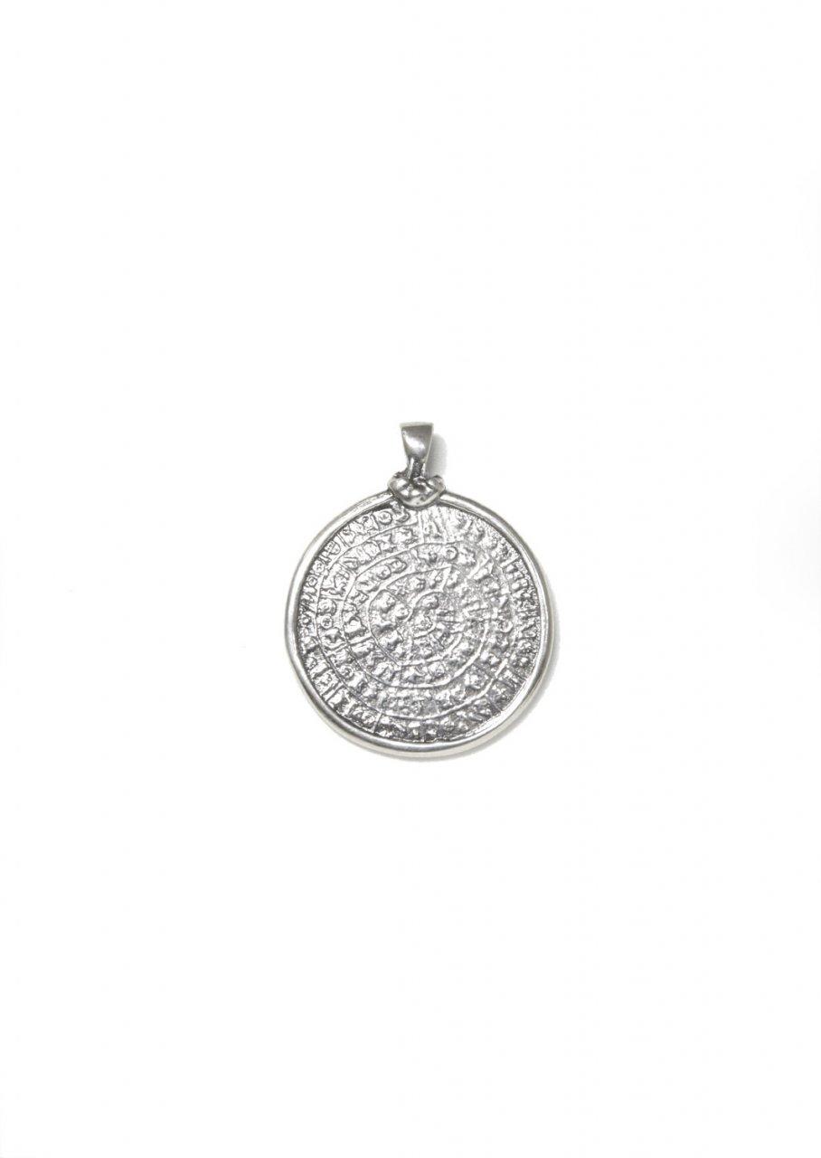 Large thick Phaistos Disc greek silver pendant