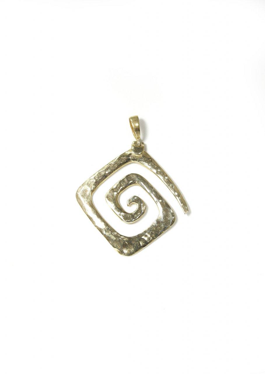 Greek Hammered Spiral Pendant Gold Plated