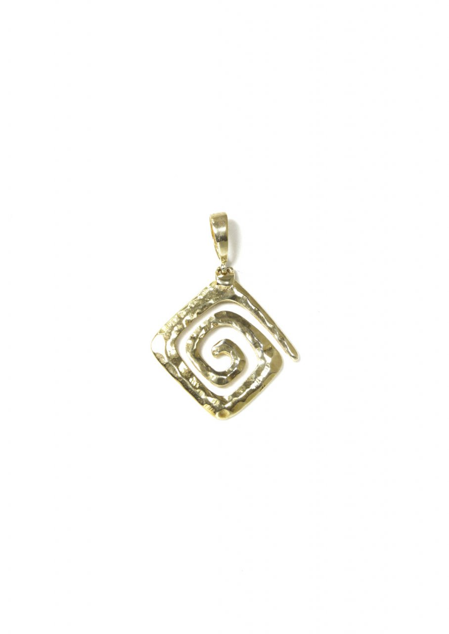 Small Greek Hammered Spiral Pendant Gold Plated