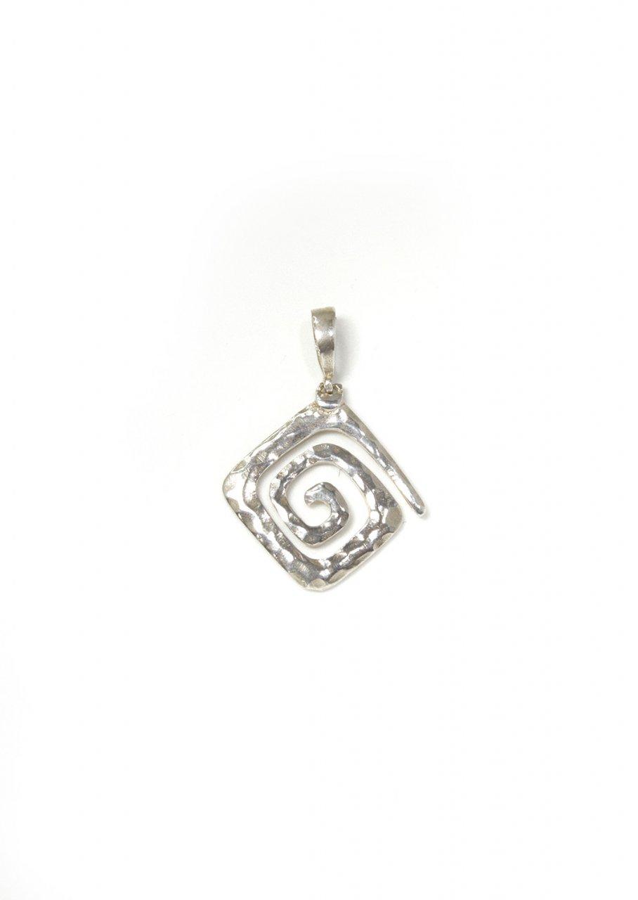 Small Greek Hammered Spiral Pendant