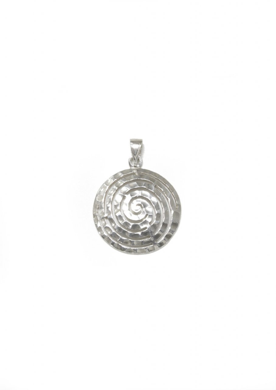 Small hammered greek spiral pendant the symbol of eternity