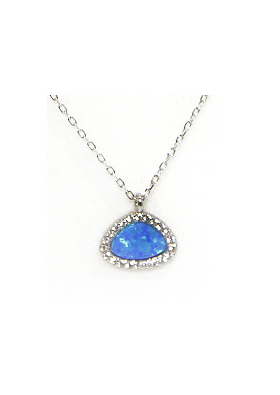 Blue opal pendant silver necklace with zircon