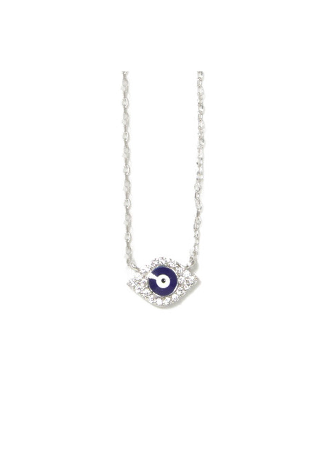 Blue evil eye silver necklace with zircon