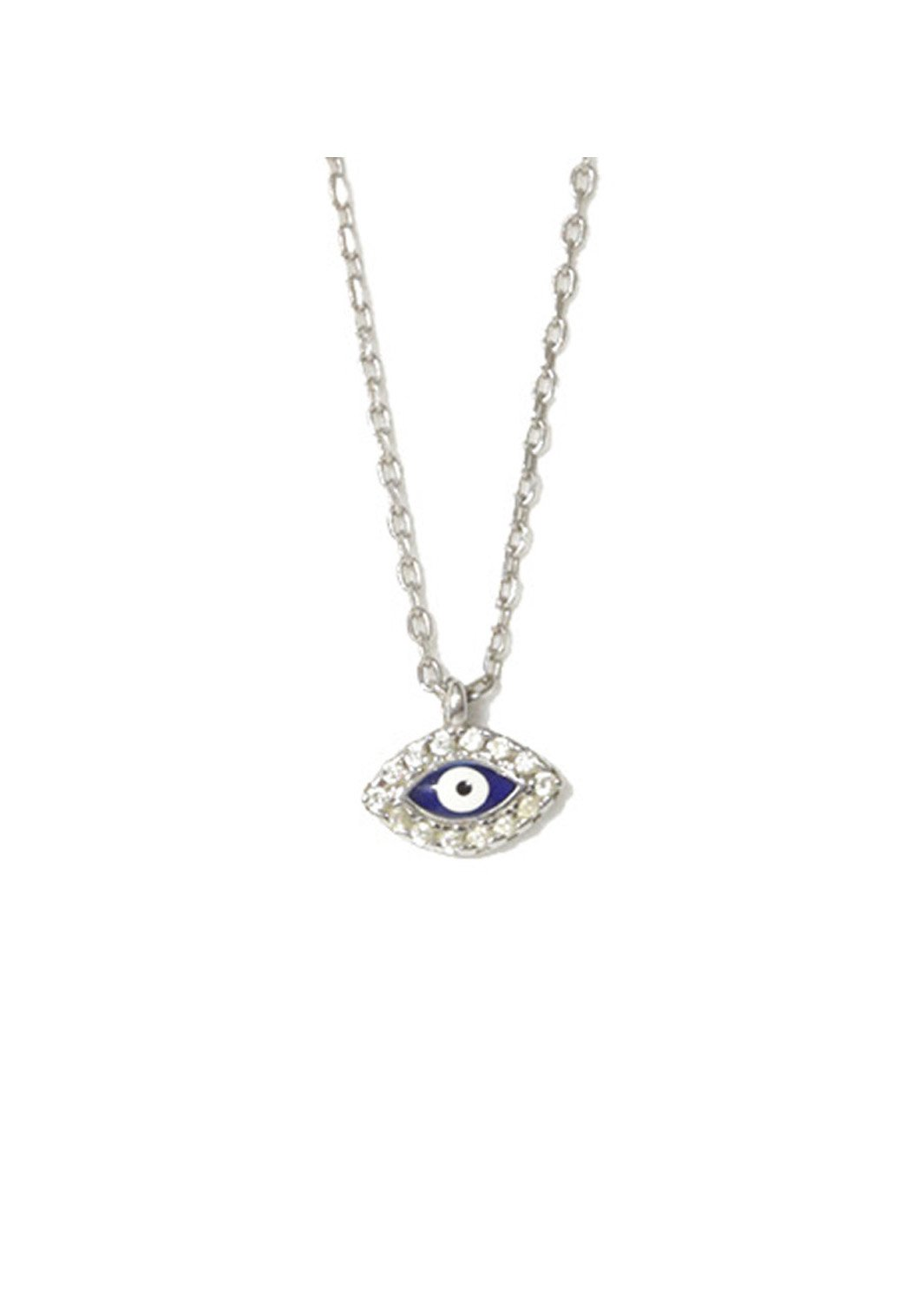 Evil eye silver necklace with zircon