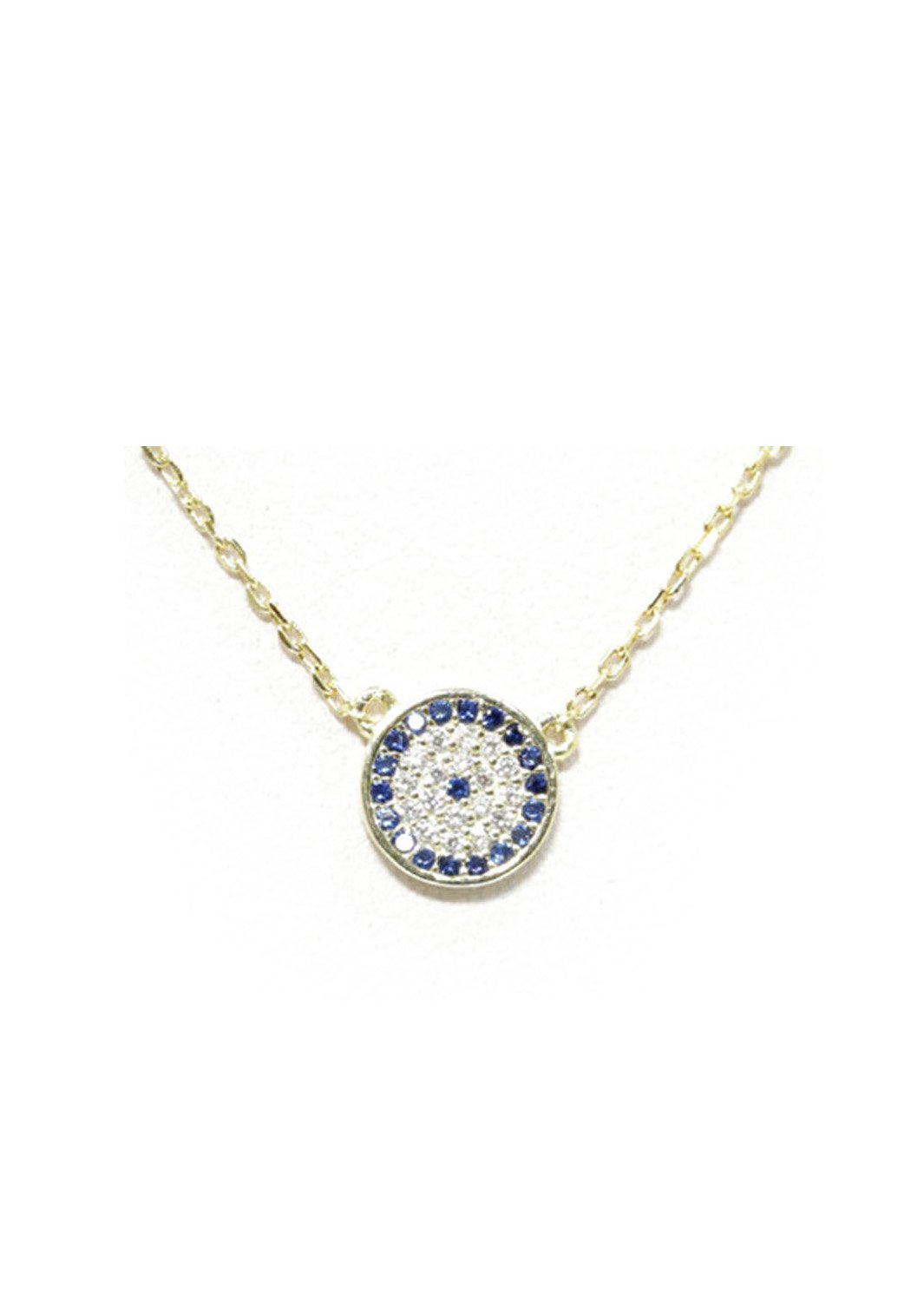 Evil eye gold plated silver necklace with zircon