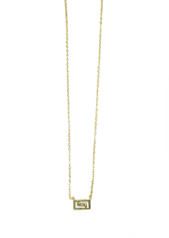 Greek key design - meander gold plated silver necklace