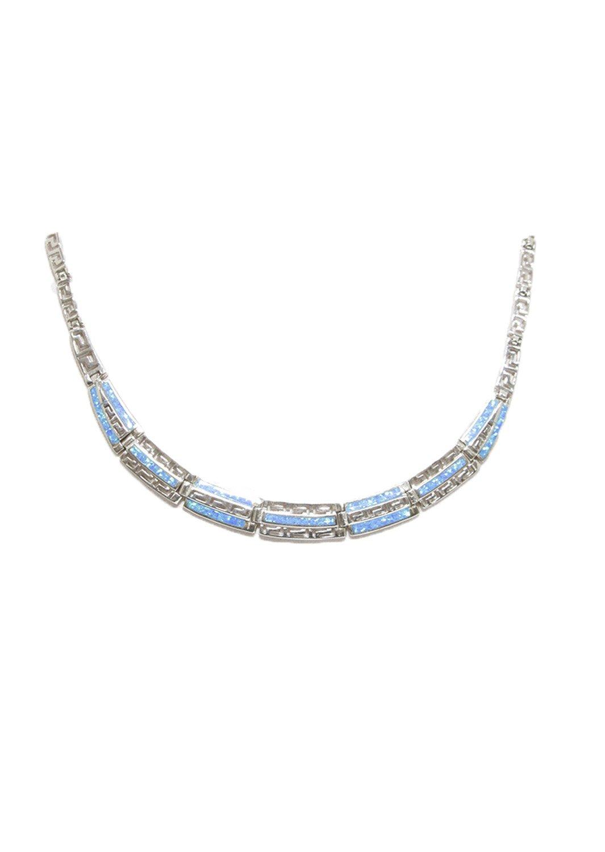 Meander - Greek key design and opal gemstones silver necklace