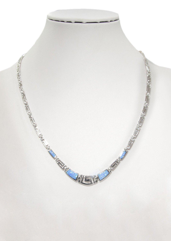 Greek key design - meander and opal gemstones silver necklace