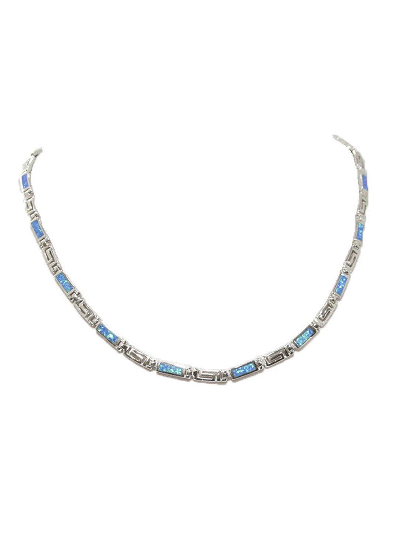 Silver necklace with Meander - Greek key design and opal gemstones