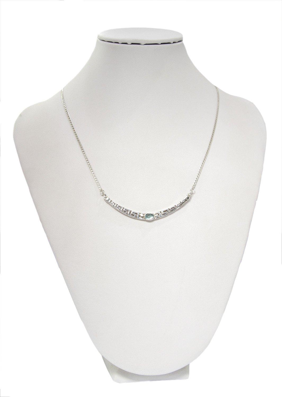 Greek key design - meander silver necklace with aquamarine