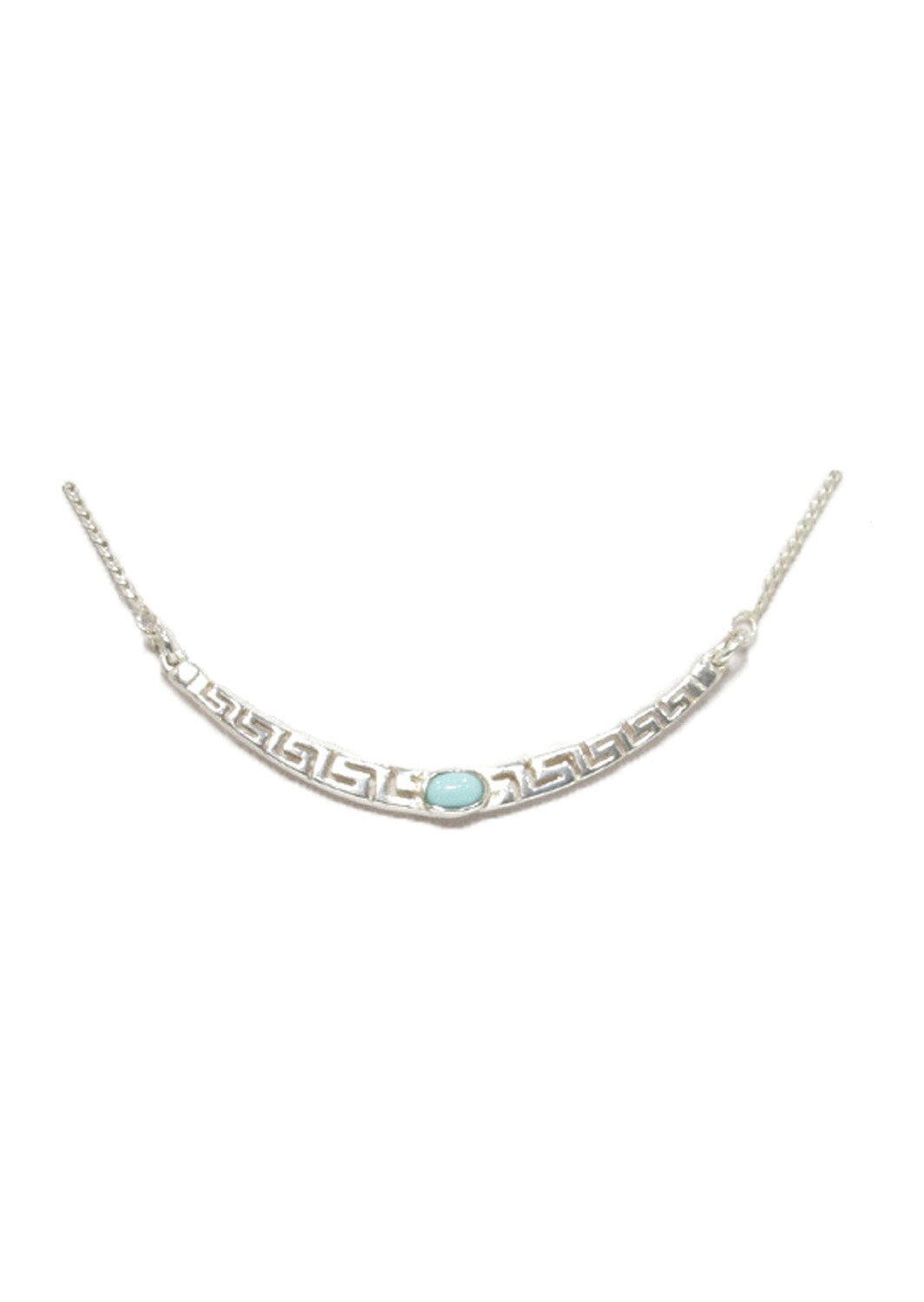 Greek key design - meander silver necklace with turquoise
