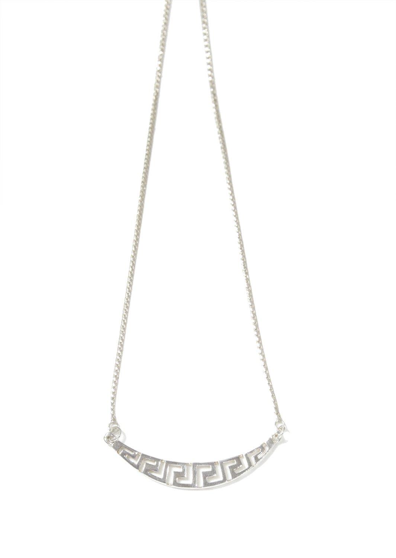 Greek key design - meander silver necklace