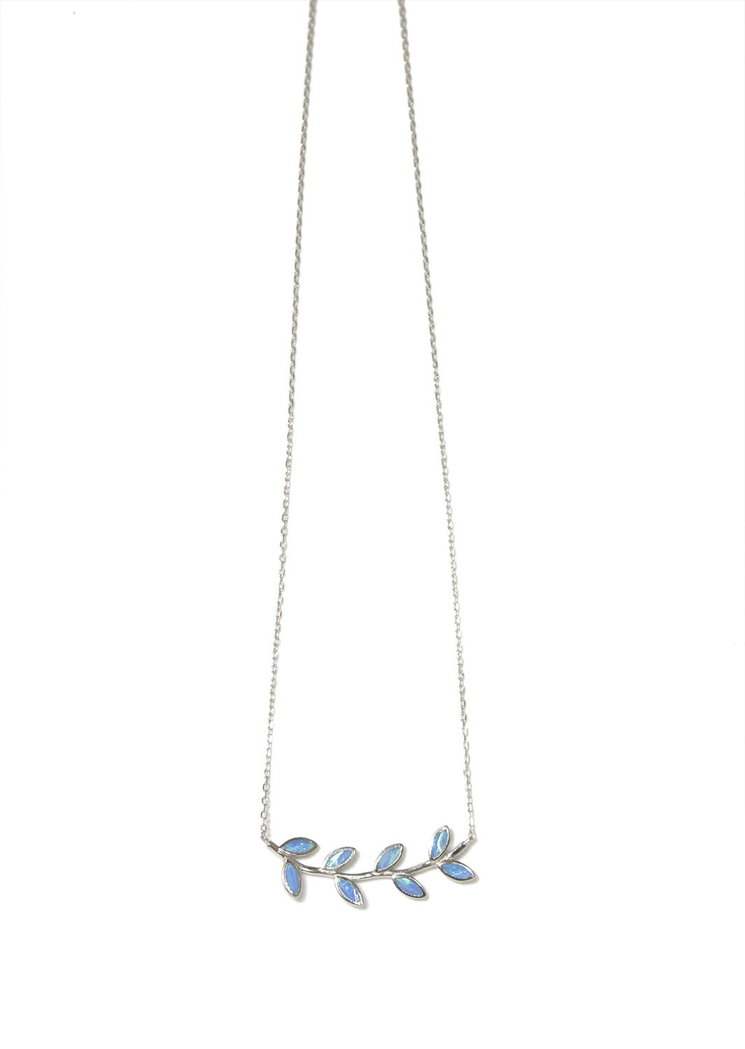 Greek olive branch silver necklace with opal